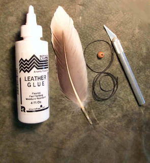 what you will need to beautifully wrap a feather