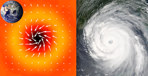 Die kreisende Bewegung eines Wirbelsturms auf der Nordhalbkugel der Sonne (links) im Vergleich mit dem Hurrikan Katrina 2005 (rechts). Die gelblich-rötliche Färbung im linken Bild gibt die Stärke der horizontalen Ströme an. Bild: MPS/Wikimedia Commons