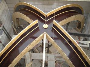 Stahlbeton Kreuzrippen-Gewölbe in einem Mausoleum