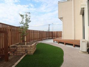 フェンス、パーゴラ、イタウバ、ポリカーボネート、ポスト、照明、施工例
