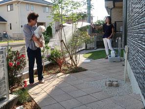 コンクリート平板舗装、アオダモ、雑草防止シート、施工例