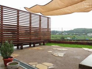ガーデン、レンガ、日よけ、ウッドフェンス、施工例