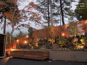 ガーデン、ウッドフェンス、ライトアップ、照明、収納庫、施工例