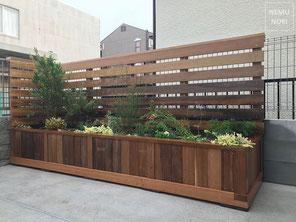 フェンス、イタウバ、ガーデニング、植栽、プランター、花壇、施工例