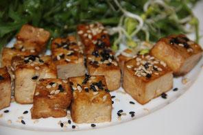 Tofu a la plancha con semillas