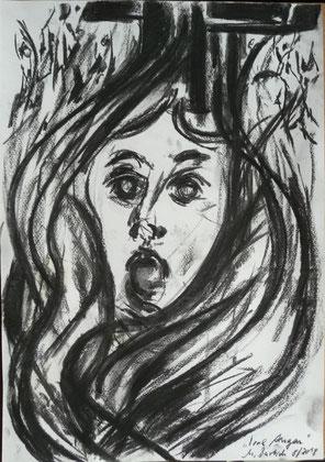 Irre Augen Kohle/ Papier 42x35