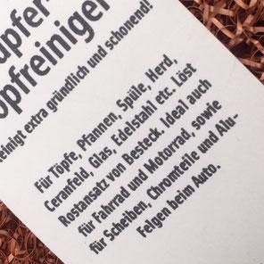 Kupferschwamm für die zarte Reinigung von Pfannen und Gartengerät.www.the-golden-rabbit.de