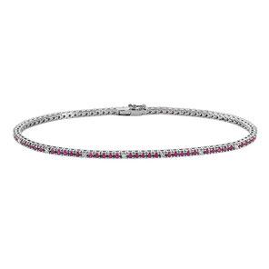 Bracciale Tennis da donna gioielli comete in oro bianco con diamanti e rubini  prezzi outlet - Istanti di Gioia
