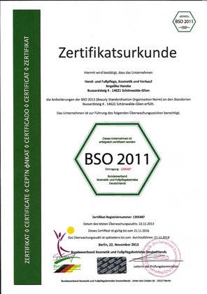 Unsere Urkunde zur Zertfizierung nach BSO 2011