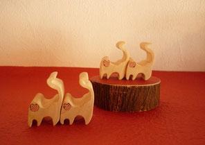 干支申 箸置き&パズル 4頭の尾長さる みかんの木のクラフトシリーズ