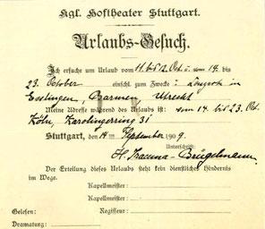 Urlaubsgesuch für Konzerte in Esslingen, Barmen und Utrecht, 1909 (Staatsarchiv Ludwigsburg, Personalakte)