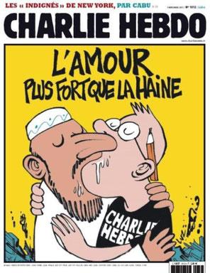 Vertaling uit het Frans: de liefde is sterker dan de haat.