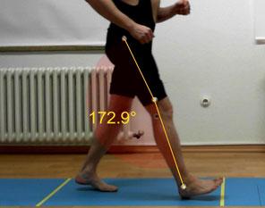 Analyse auf der Gehstrecke, Gangbahn, Walkway, mit Winkeltracking und anderen komplexen Mess-Tools