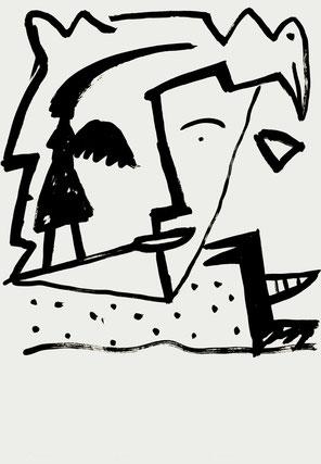 Absurder Traum, vor der Reise nach Sizilien, 100/70 cm, 1987