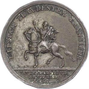 Karl III. in Leipzig Münze 1703 ( Vorderseite: Stuttgarter Landesmuseum, Rückseite: schlechter erhaltene Münze aus einem Münzhandelangebot)