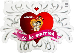 Deurbord Love is... to be married 45x33cm € 2,50