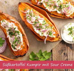 Rezept Süßkartoffel Kumpir mit Gemüse und Sour Creme