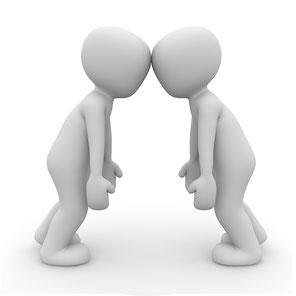 Zwei Menschen im Gespräch Illustration