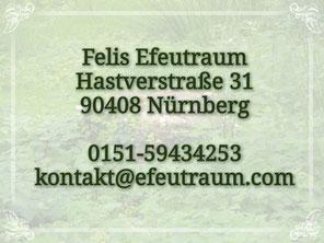 Felis Efeutraum, Hastverstraße 31, 90491 Nürnberg, Telefon: 0151-59434253, E-Mail: kontakt@efeutraum.com