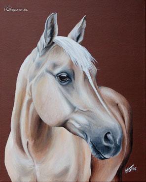 Quarter Horse, Pferdegemälde in Acryl, Palomino