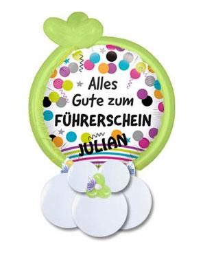 Folienballon Luftballon Ballon Alles Gute zum Führerschein bestanden Herzlichen Glückwunsch Mädchen Junge Frau Mann Bouquet Strauß Überraschung Mitbringsel Versand Geldgeschenk mit Namen personalisiert