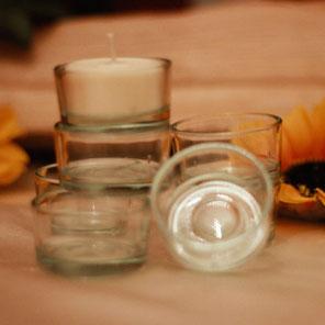 Kerzenteller, Teelichtgläser, Kerzenmanschetten