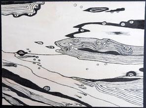 Au bord de l'eau n°4, encre de Chine sur bois