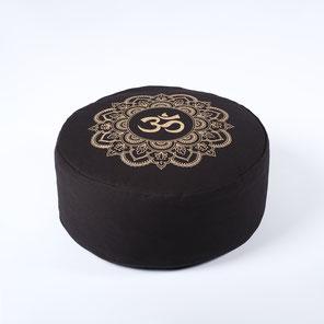 Meditationskissen gold Print Mandala OM schwarz