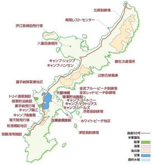 沖縄 基地と飛行場の地図