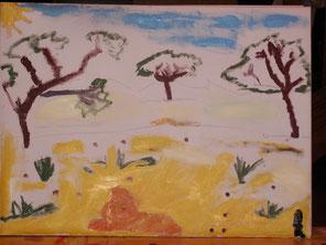 le petit lion de louis dessiné et peint par louis
