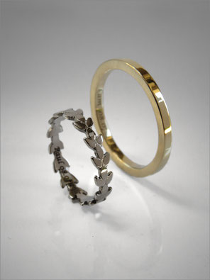 Wedding rings - white gold end yellow gold - Nelly Chemin