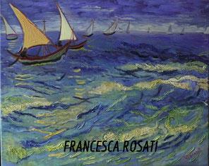 Barche di pescatori in mare  V. Van Gogh, olio su tela, 40x50 cm, 2014