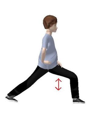 右手を腰に、上半身を左に回し横向きになり  上下にゆすります