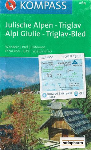 Kompass Wanderkarte Julische Alpen