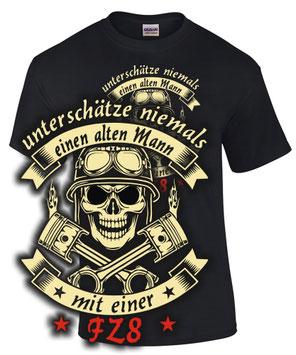 Biker T-Shirt FZ8 Tuning ALTER MANN MIT MOTORRAD Treffen Spruch zubehör