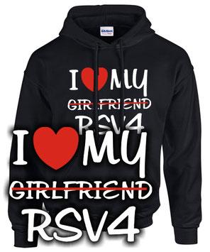 Sweatshirt I LOVE MY GIRLFRIEND RSV4 mille tuono r rr rf factory Tuning Zubehör Motorrad Biker