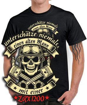 Biker T-Shirt ALTER MANN MIT EINER ZRX 1200 Motorrad Tuning Treffen zubehör
