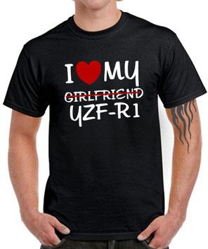 I LOVE MY GIRLFRIEND YZF-R1 * R1 Motorrad Biker SATIRE T-SHIRT für Yamaha Fans