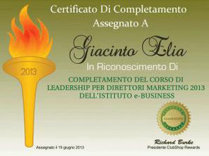 certificato completamento corso leadership Marketing Director 2013