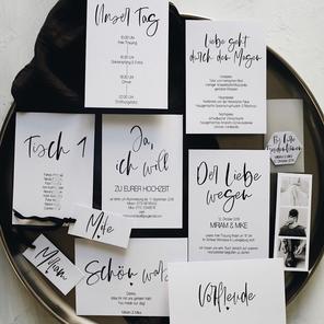 Hochzeitspapeterie schwarz weiß black and white