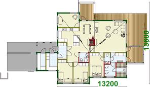 Blockhaus: EG-Grundriss - Wohnblockhaus vom Feinsten bis vier Personen - Holzhaus bauen - Energiesparhaus - Einfamilienhaus, Wohnhaus, Traumhaus, Gesundes Wohnen - Ökologische Bauplanung - Niedrigenergiehaus - Lüneburg