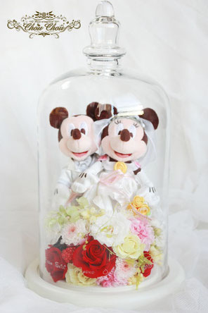 ウェディング ミッキー ミニー ディズニー プロポーズ ガラスドーム プリザーブドフラワー FTW