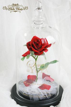 美女と野獣 薔薇 ディズニー ガラスドーム プロポーズ 造花