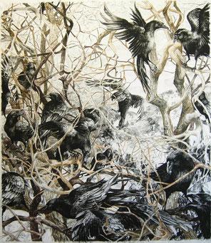 """""""Krähenbaum"""", Kreide und Reisskohle auf Papier, 120 x 110, 2011"""
