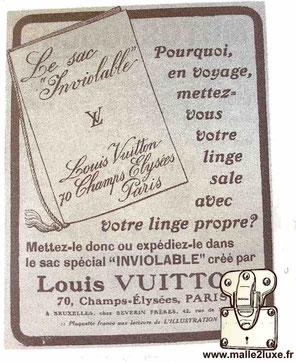 Publicité 13 juin 1914 - Louis Vuitton Le sac inviolable steamer bag