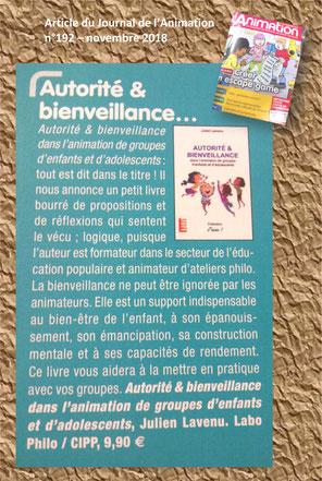 Journal de l'animation. Autorité et bienveillance. Julien Lavenu. LaboPhilo. Bienveillance éducative, éducation positive. Centre de loisirs. ACM. ALSH. BAFA. BAFD. DEJEPS. BPJEPS