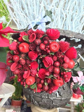 アルプラザ鯖江 特招会 クリスマス リース 花鉢 バラ お買得 花ひろ 福井 花屋 鯖江