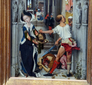 Dark sideless surcot trimmed with white fur, worn over a blue BLIAUT. After Rogier van der Weyden, Altarpiece of St John the Baptist, Städel, Frankfurt. picture taken by Nina Möller - Middle Ages dress