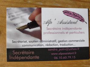 carte de visite Alp' Assistant