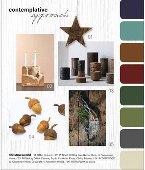 contemplative approach - Moodboard des aktuellen Weihnachtstrend 2021 / 22 in braunen und grünen Farbtönen